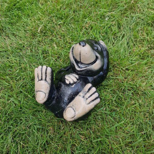 Concrete Laughing Mole Garden Ornament - Black