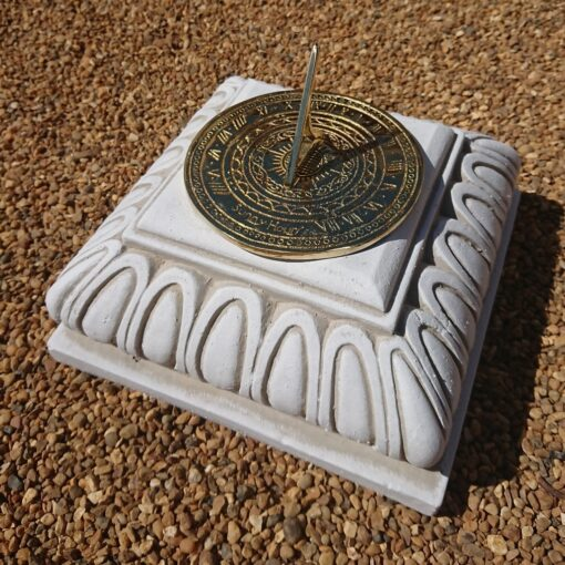 Concrete Square Small Plinth With Round Sunny Hours Sundial