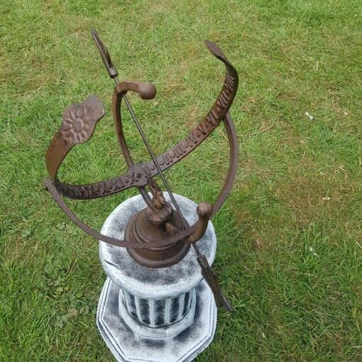 Concrete Octagonal Plinth Black and White With Armillary Sundial