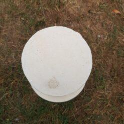 Concrete Round Swirl Tall Plinth Cream
