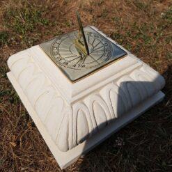 Concrete Square Small Plinth In Cream With Square Sundial