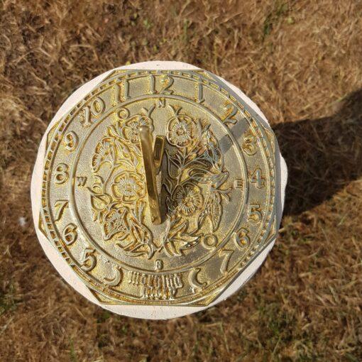 Concrete Round Swirl Tall Plinth Cream With Octagonal Morning Glory Sundial