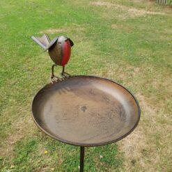 Robin Bird Bath On Tall Spike