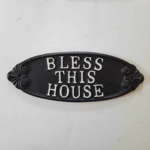 Bless This House Cast Iron Sign Black And White