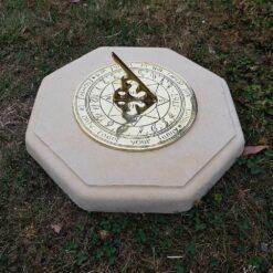 Cream Octagonal Concrete Sundial Base With Sunface Sundial