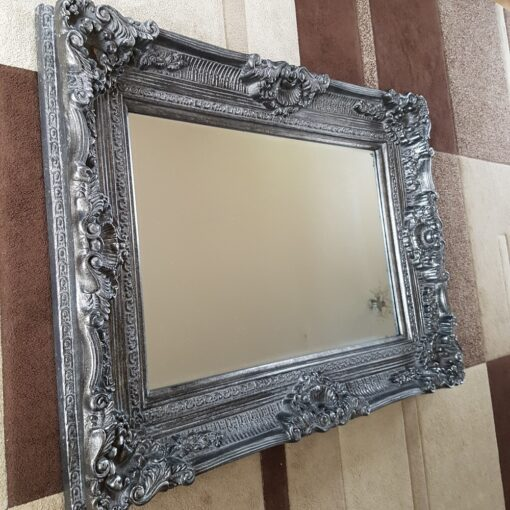 Large Ornate Shabby Chic Rectangular Framed Vintage Mirror Silver