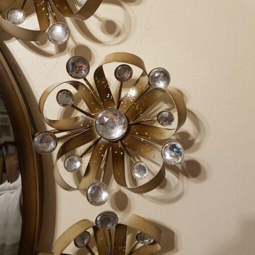 Diamante Flower Circle Metal Wall Art Mirror