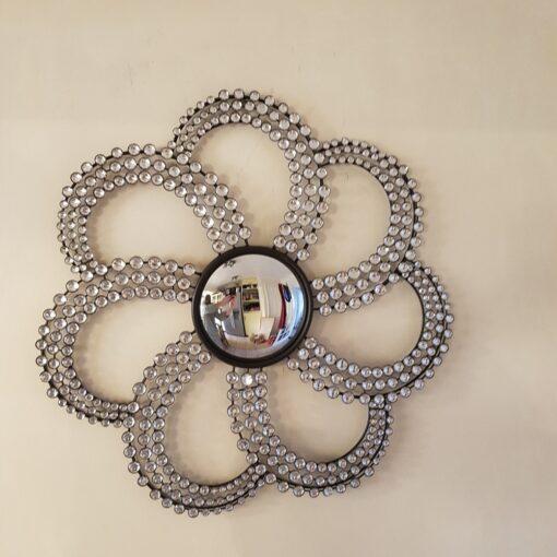 Silver Jewel Swirl Mirror Metal Wall Art