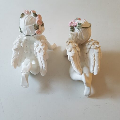 Pair of White Cherubs With Pink Rose Crown