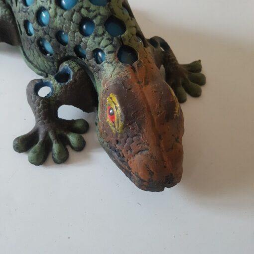 Cast Iron Lizard Gecko Glass T-Light Large