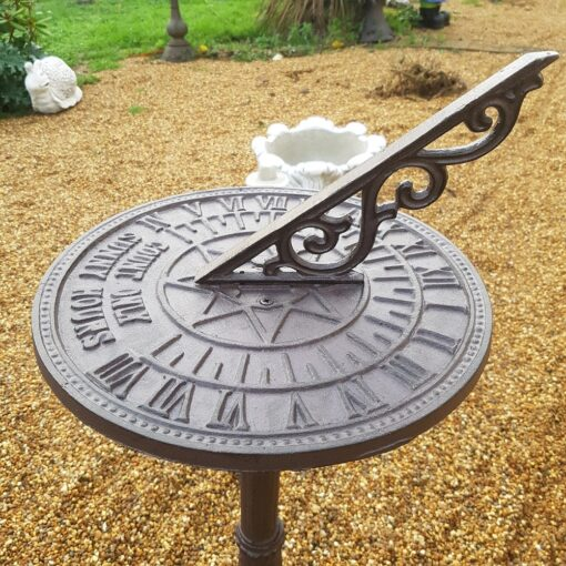 Cast Iron Free Standing Sunny Hours Sundial - Rustic