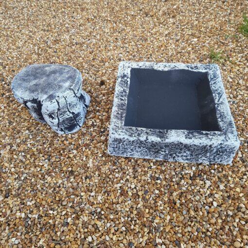 Black and White Square Bird Bath/Feeder Including Base