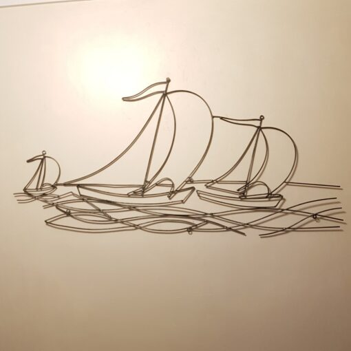 Sailing Yachts In The Wind Metal Wall Art Gun Metal Finish