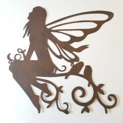 Vintage Rust Sitting Fairy With Birds Silhouette Metal Wall Art