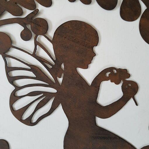 Vintage Rust Sitting Fairy Framed In Leaves Silhouette Metal Wall Art
