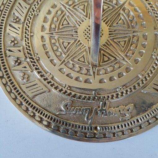 Round Large Sunny Hours Brass Sundial Plain 185mm