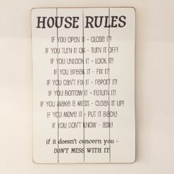 House Rules Sign Wooden Wall Art