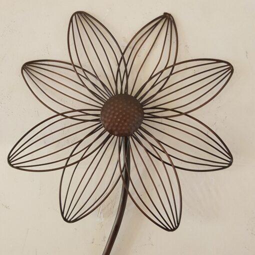 Metal Flower Stem Bronzed Wall Art