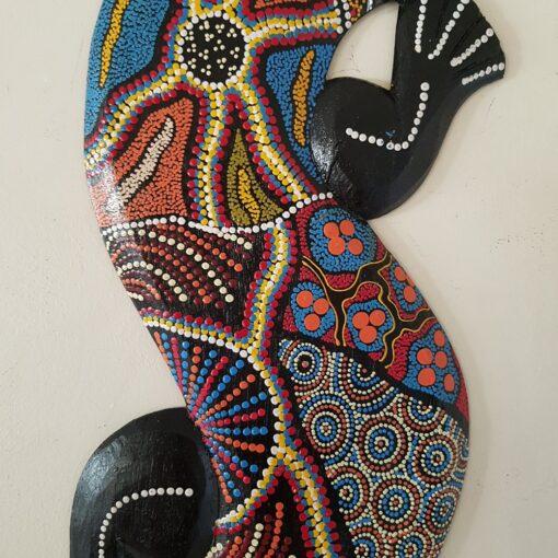 Multi Coloured Dot Lizard Design Wooden Wall Art
