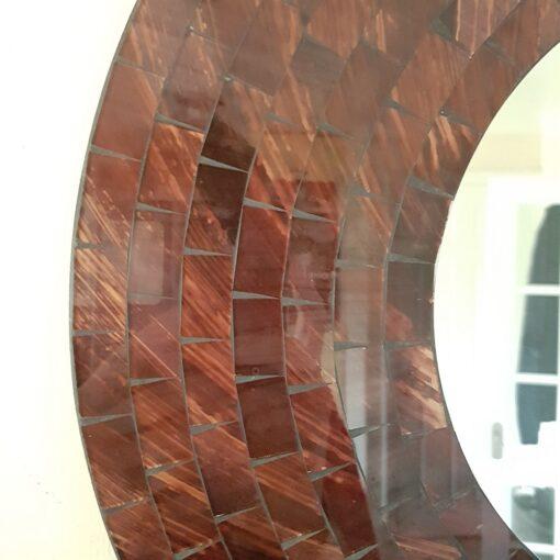 Red Mosaic Round Mirror On Wooden Frame