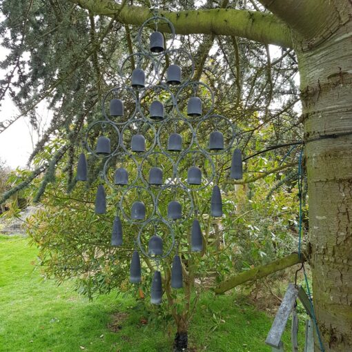 Diamond Shaped Bells Hanging Wind Chime Grey