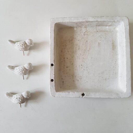 White Square Garden Birdbath With Three Birds