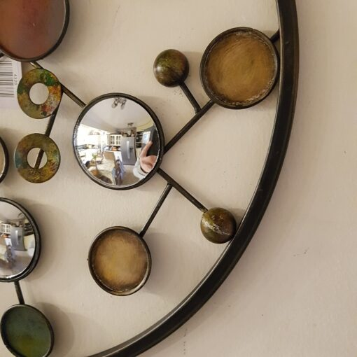 Funky Spheres With Round Mirrors Metal Wall Art