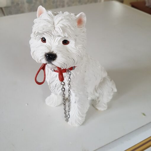 West Highland Terrier Figurine with Lead Sitting