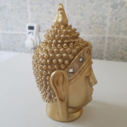 Soft Gold Buddha Head With Glitter Headress