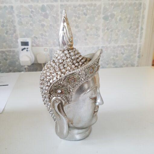 Silver Art Deco Buddha Head Small