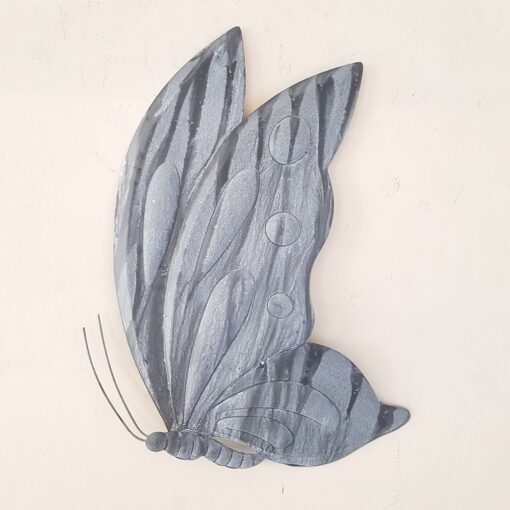 Metal Butterfly Wall Art Grey and White
