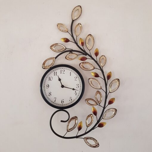 Large Metal Wall Art Quartz ornate Clock with Acry leaves