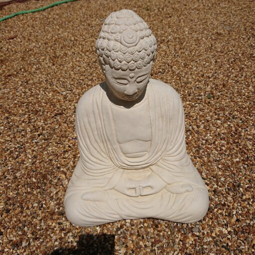 Concrete Cream Buddha Sculpture