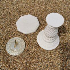 Concrete Round Swirl Tall Plinth Cream Octagonal Top Grow Old Sundial