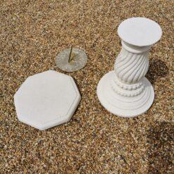 Concrete Round Swirl Tall Plinth Cream Octagonal Top Zodiac Sundial