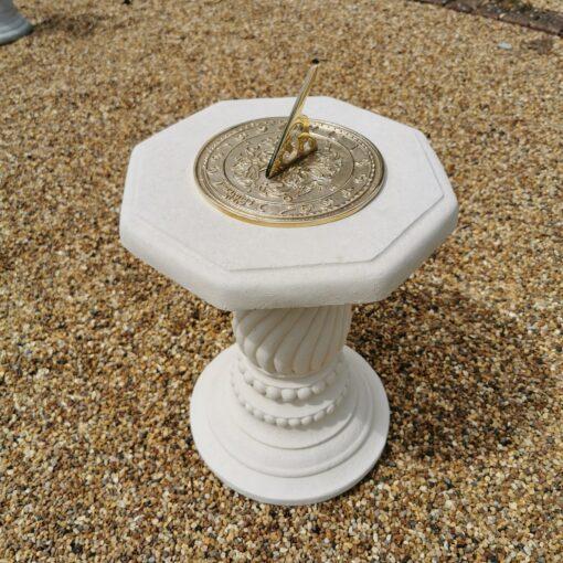 Concrete Round Swirl Tall Plinth Cream Octagonal Top Morning Glory Sundial