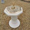 Concrete Round Swirl Tall Plinth Cream Octagonal Top Large Octagonal Sundial