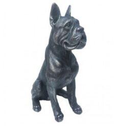 Sitting Boxer Dog Statue - Antique Finish