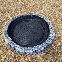 Small Round Log Effect Ground Bird Bath or Replacement Top Black and White