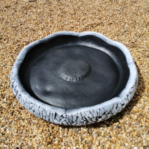Large Round Log Effect Ground Bird Bath or Replacement Top Black and White