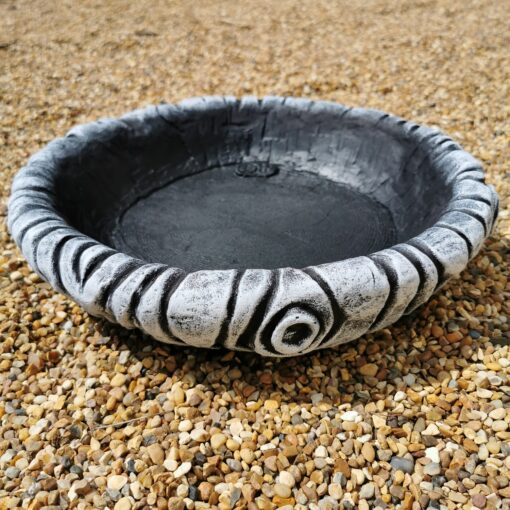 Medium Round Log Effect Ground Bird Bath or Replacement Top Black and White