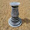 Concrete Round Swirl Tall Plinth Black And White
