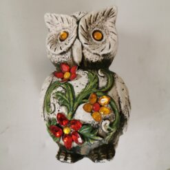 Terracotta Owl Garden Ornament Decorated with Jewels