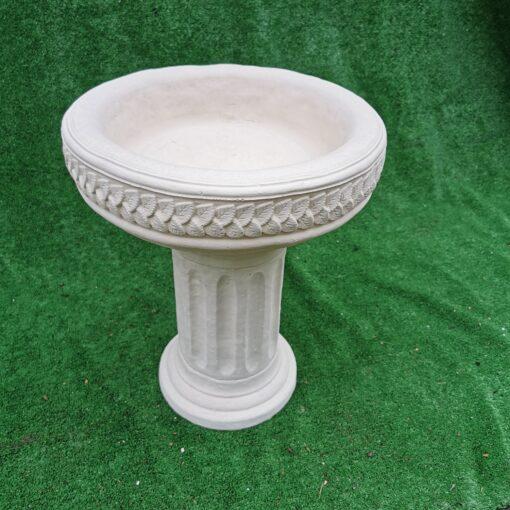 Concrete Round Column With Birdbath Top Cream