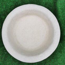 Round Leaf Design Concrete Birdbath Top Cream