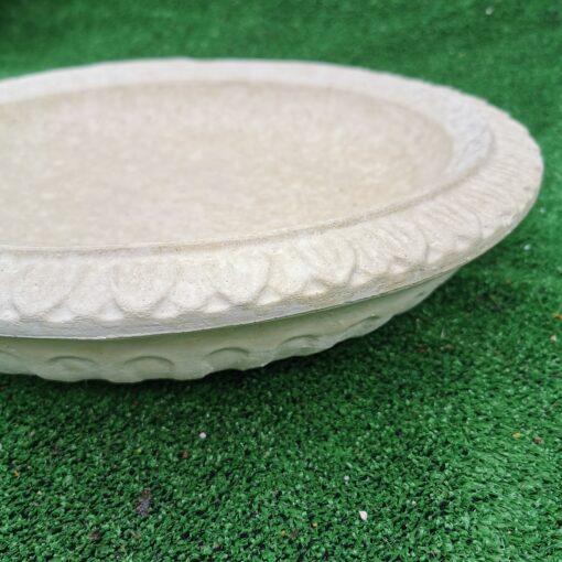 Round Patterned Design Concrete Birdbath Top Cream
