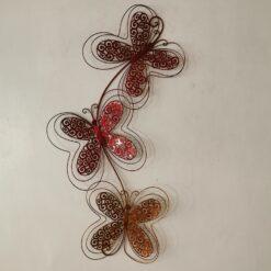 Red Dahlias Flower Stem Metal Wall Art