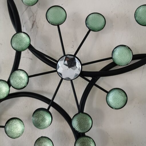 Circles With Green & Silver Flower Jewels Metal Wall Art