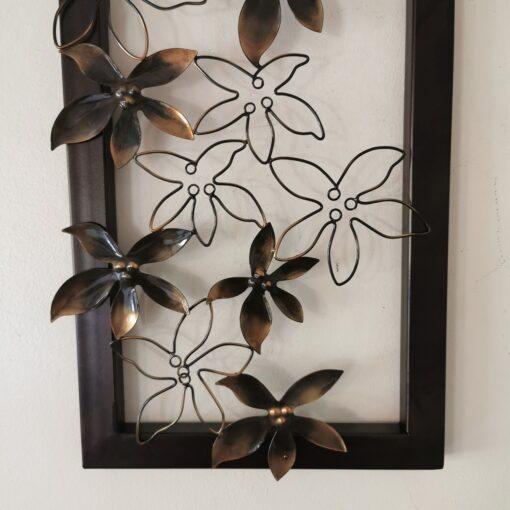 Golden Lotus Leaves On Metal Frame Wall Art