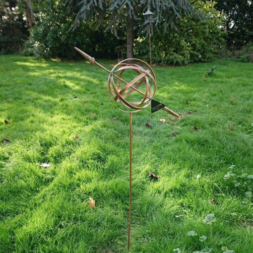 Armillary Globe Flower Stake - Verdigris Bronze